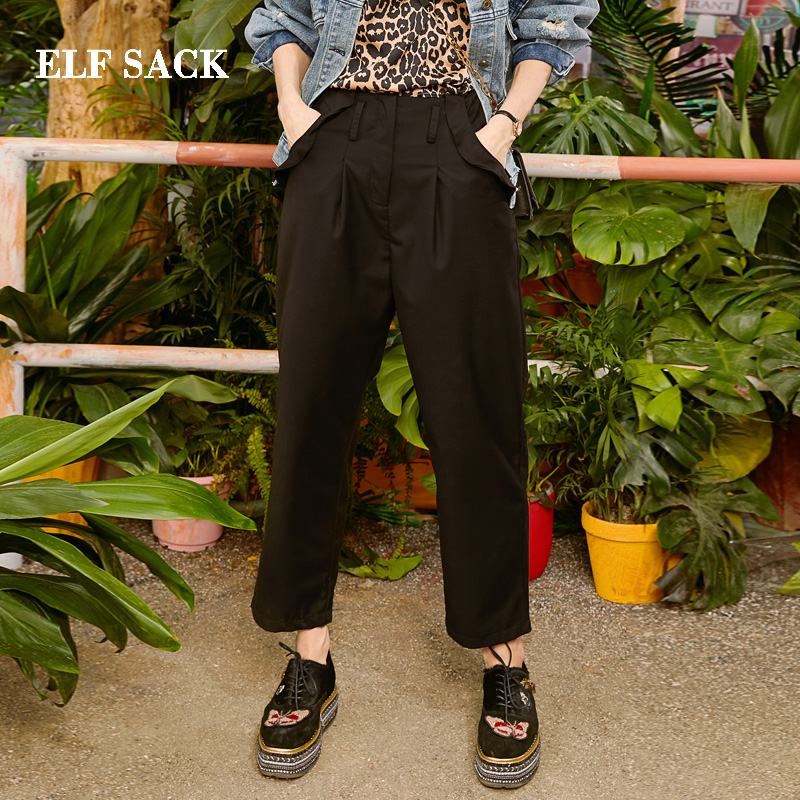 ELF SACK 2019 New Woman Oversized Pants Casual Knitted Ruffle Trousers Mid Waist Solid Ladies Straight