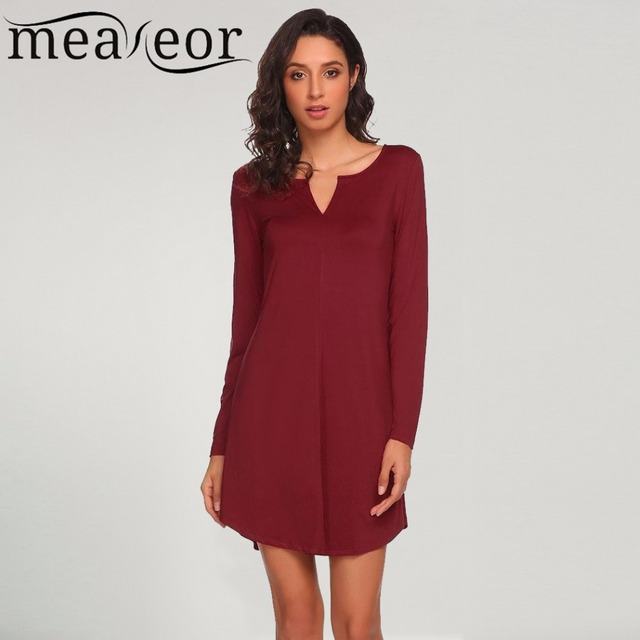0c20290fc247 Meaneor Women Casual Dress Long Sleeve Solid V Neck Basic Flowy Tunic Slim  Sexy Mini Dresses Above Knee dress vestido 2017 New
