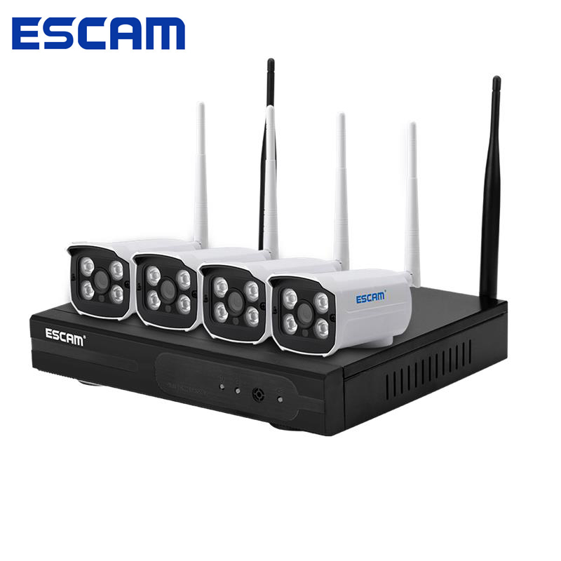 ESCAM WNK403 CCTV IP Camera 4CH WiFi NVR Kit P2P 720P IP66 Waterproof Access Point Automatch IR Night Vision Motion Detection hbss 4ch 1 0m hd 2tb hdd poe ip66 waterproof motion detection 1280 720p ir night vision outdoor mult lang surveillance system