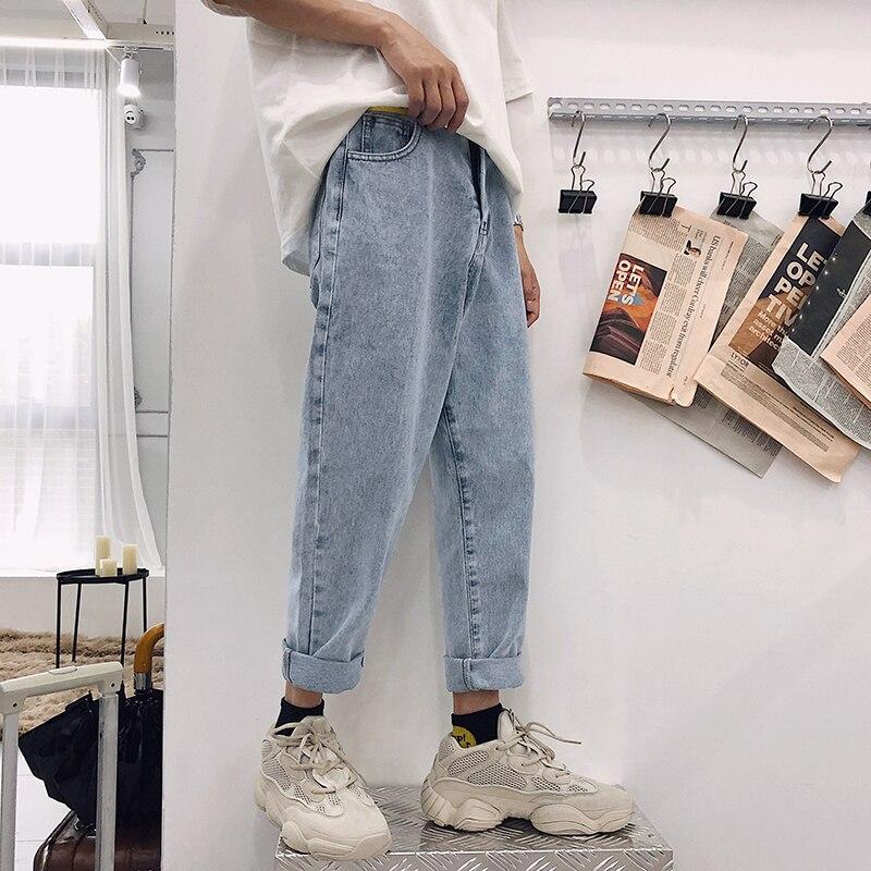2020 New Fashion Four Seasons Loose Men Jeans Washed Cotton Casual Light Blue Cowboy Pants Zipper Jeans S-2XL
