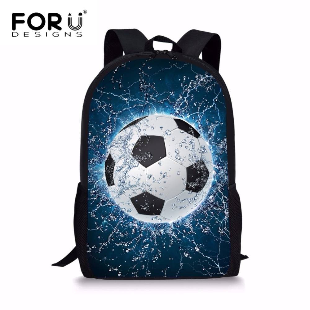 FORUDESIGNS Cool 3D Ice Soccerly Ball Print School Bags For Boys Girls Casual Large Capacity Backpacks Students Lap Top Satchel