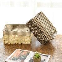 Cloth straw hand woven storage basket simple home desktop snacks debris decoration storage basket finishing box mx01211713
