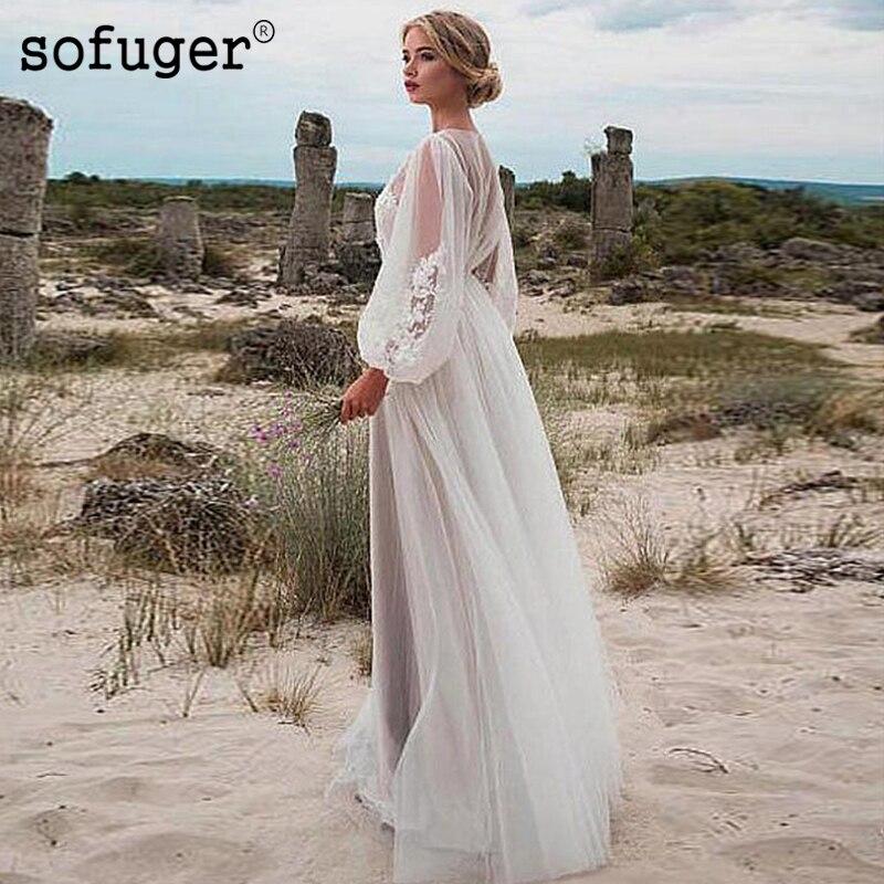 Sexy Long Puff Sleeves Scoop Appliques Beach Illusion Back Bridal Wedding Dresses Vestidos de Noivas