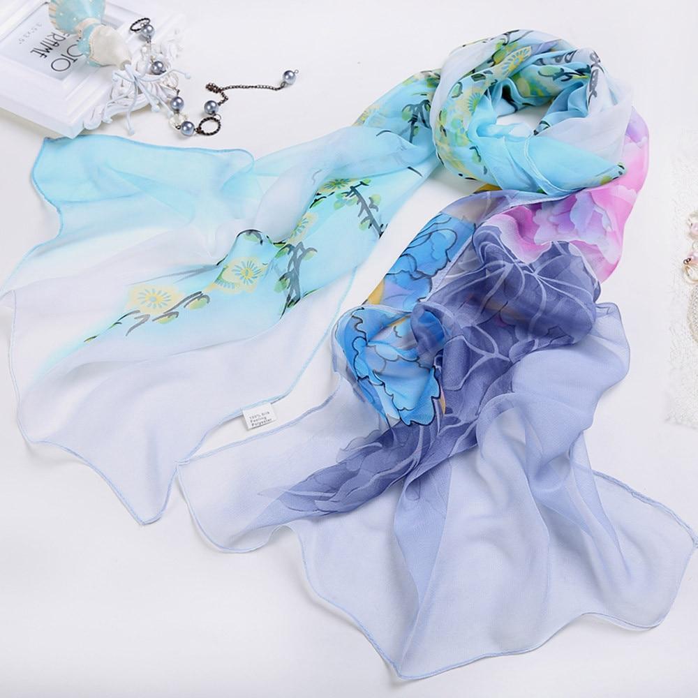 KANCOOLD silk   scarf   shawl Elegant design Unique Style Women Ladies Chiffon Floral   Scarf   Soft   Wrap   Long Shawl pJAN17