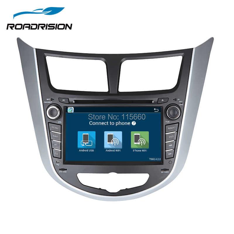 RoadRision 1024*600 رباعية النواة الروبوت 6.0 مشغل أسطوانات للسيارة GPS لاعب ل هيونداي سولاريس فيرنا رئيس وحدة راديو تلقائي الفيديو والملاحة