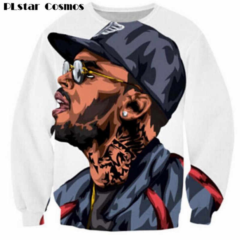 PLstar Cosmos Harajuku sweatshirts 3d Chris Brown character sweatshirt jumper hip hop hoodies pullovers outerwear drop shipping