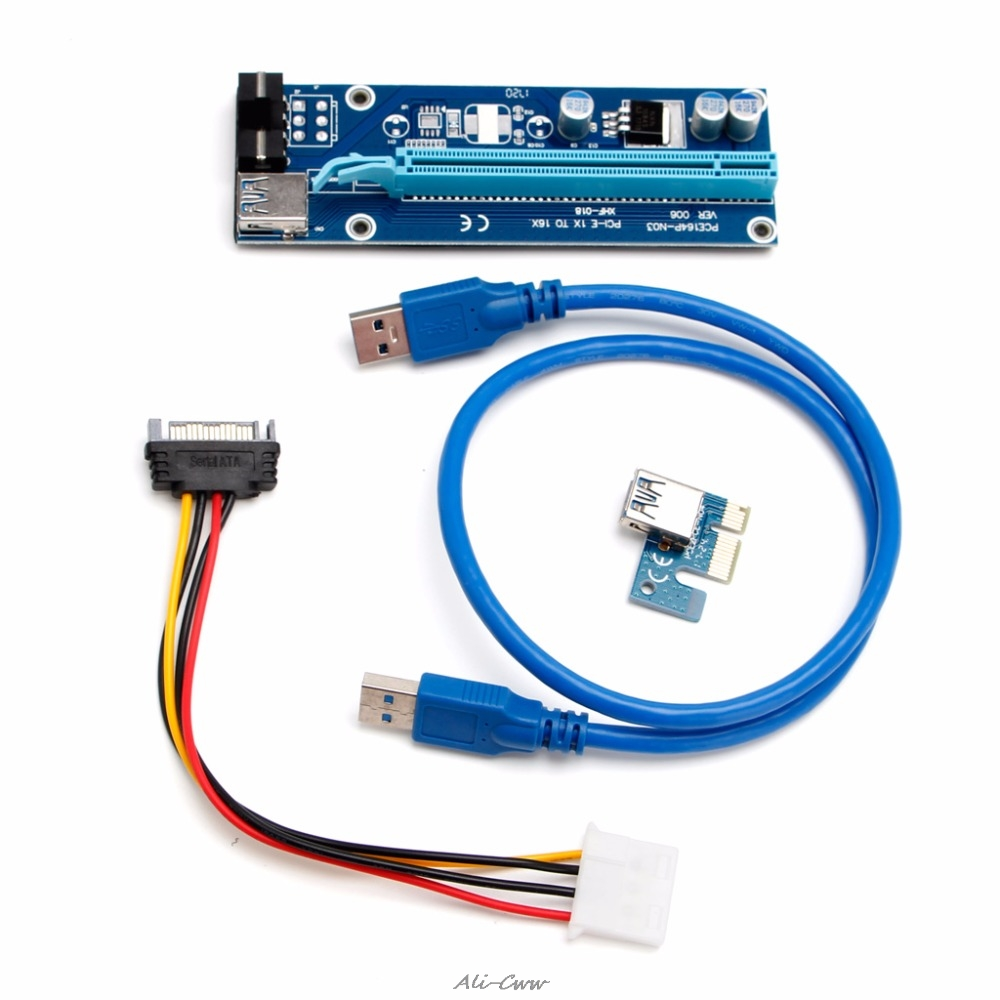 1 Set USB 3.0 <font><b>PCI</b></font>-<font><b>E</b></font> Express 1x to 16x Extender Riser Board <font><b>Card</b></font> Adapter w/ <font><b>SATA</b></font> Cable Suit for Any Graphics <font><b>Cards</b></font> NEW image