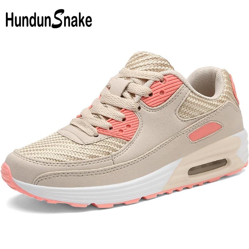 Hundunsnake Suede Women's Sport Shoes Air Cushion Women Running Shoes Orange Sports Shoes Lady Sport Shoes For Women Walk T305