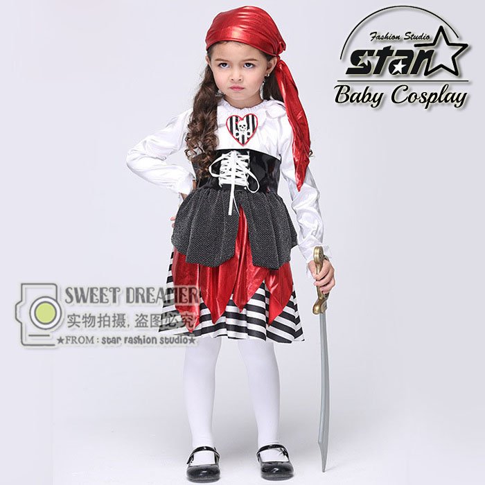 Halloween Children Kids Caribbean Pirate Costume Dress Hat Pirates Costumes Cosplay Fancy Fantasia Infantil Clothing for Girl halloween costumes for children boys kids cosplay costume fantasia disfraces game uniforms kids clothes set