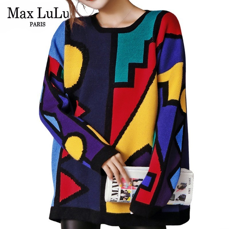 Max LuLu Korean Fashion Christmas Knitwear Ladies Winter Sweaters Women Knitted Striped Pullover Vintage Female Oversized Jumper