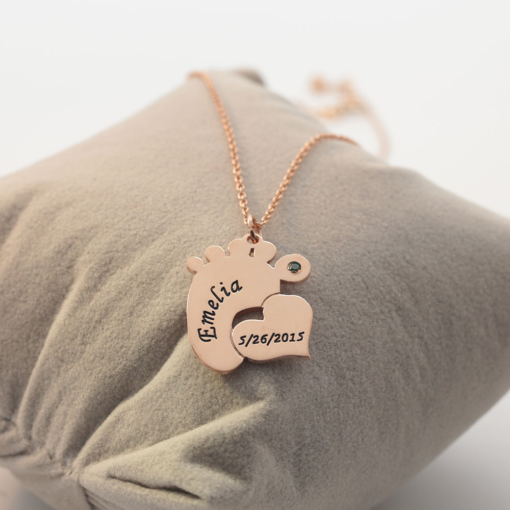 Baby Foot Necklace Engrave Name Date Heart Necklace Custom ...