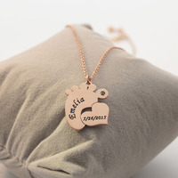 Baby Foot Necklace Engrave Name Date Heart Necklace Custom Birthstone Mom Gift Christmas Gift