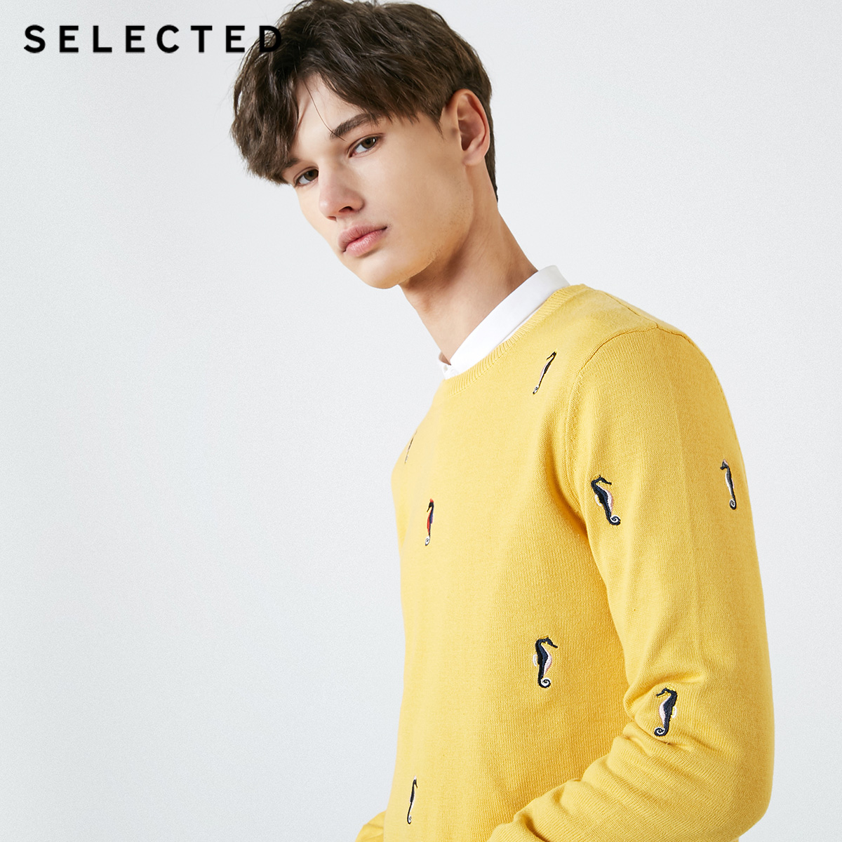 SELECTED Men's 100% Cotton Animal Embroidery Regular Fit Knitted Sweater C|419124541