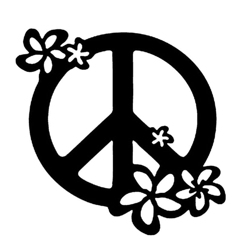 13 13cm Flower Art Graphics Peace Sign Car Sticker Decal