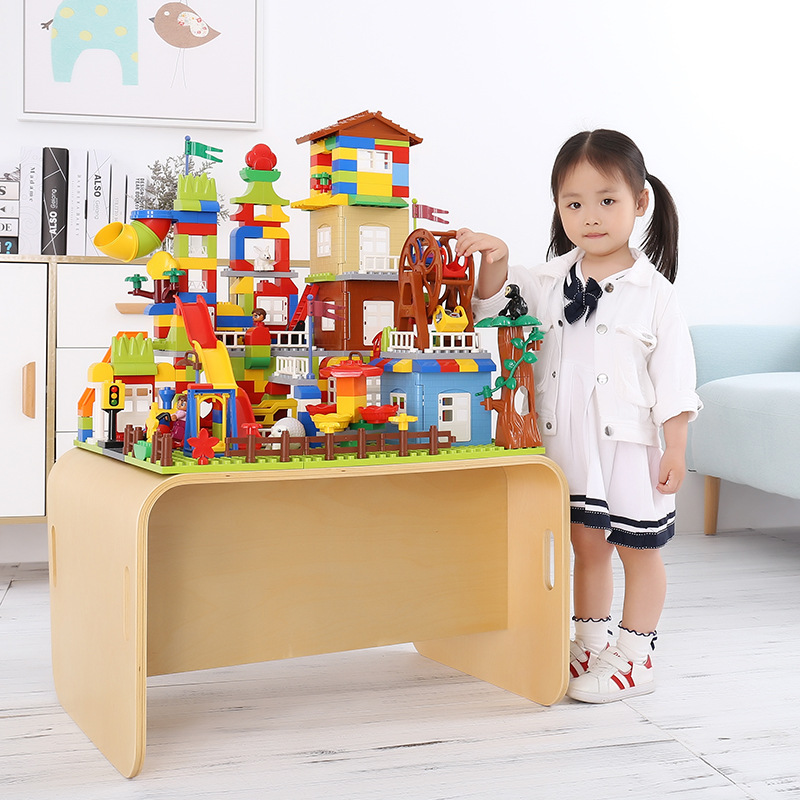 Building blocks bricks Castle Educational Rainbow blocks Set Assembly Model DIY compatible legoe duplo slide Toys For children world famous architecture 1977pcs wange blocks golden gate bridge model building bricks set diy assembly toys for children 8023