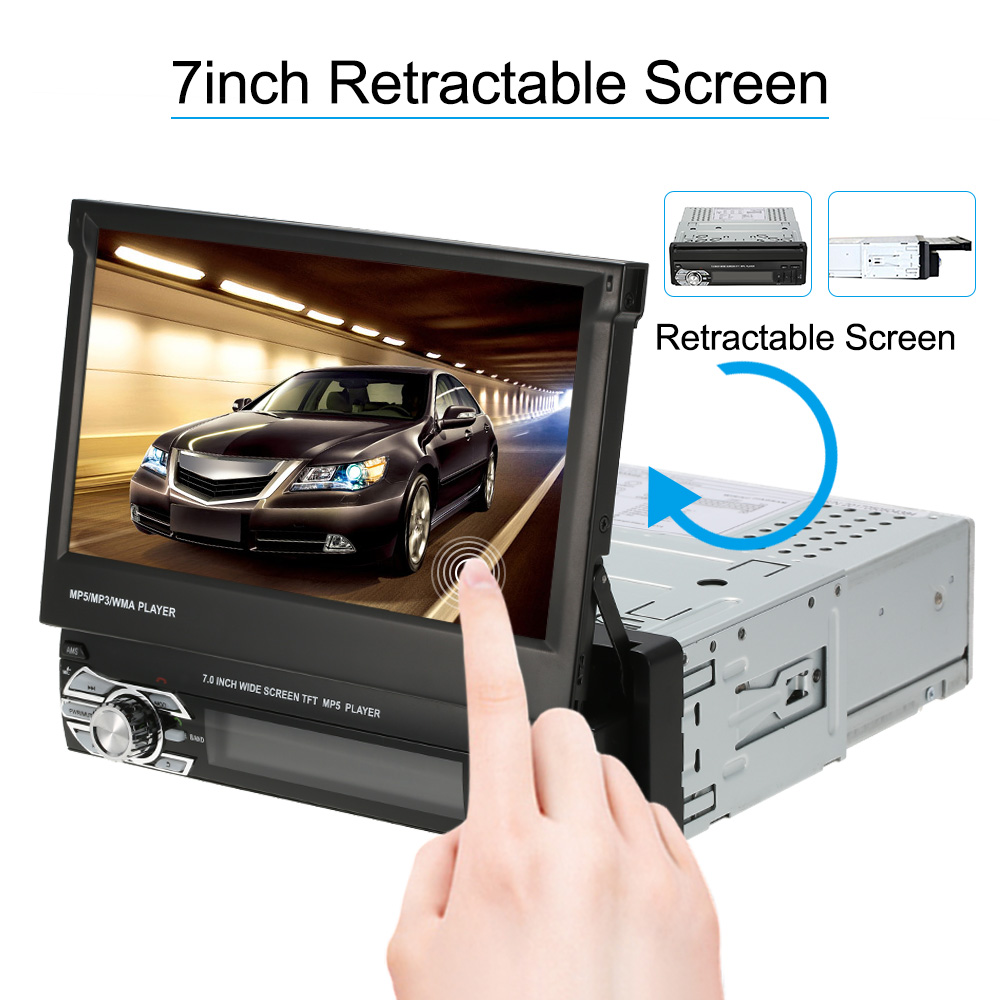 Universal 7inch Car Stereo Radio Player GPS Navigation Retractable MP5 Player with Bluetooth FM USB SD