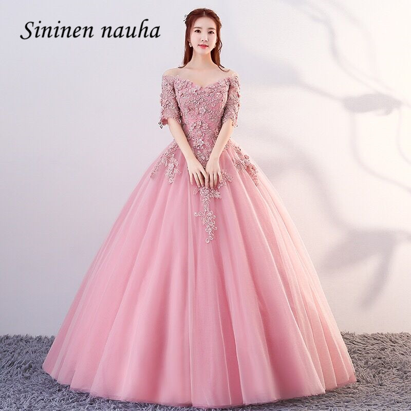 Pink 2019 Quinceanera Dresses 1/2 Sleeves V Neck Off The Shoulder Appliques Ball Gown Vestidos De 15 Anos Sweet 16 Dresses 339 image