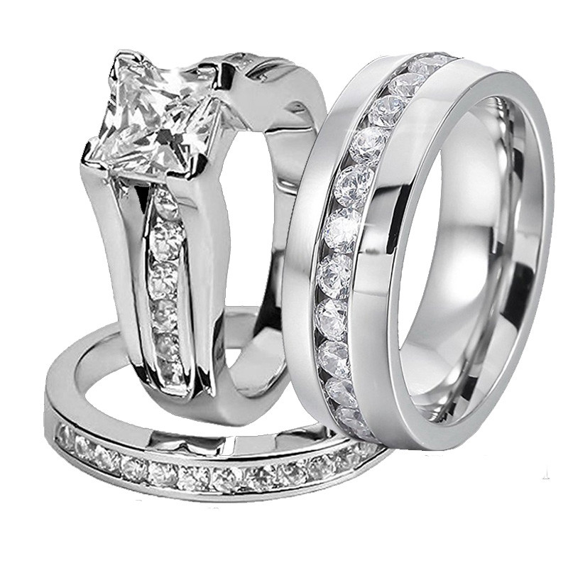 His And Her 316L Stainless Steel Princess Cut Wedding Ring Sets And Eternity Wedding Cubic Zircon Men Women Engagement Ring