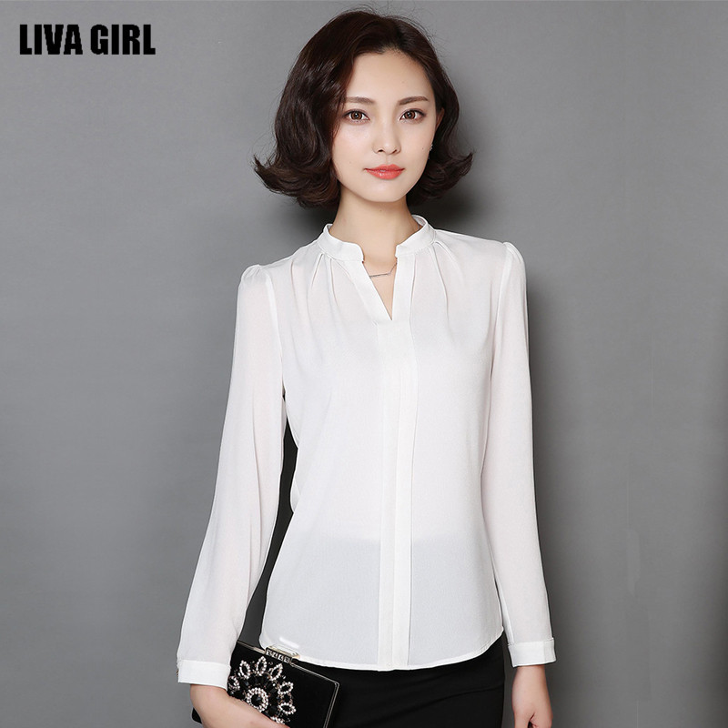 2017 New Spring Women Shirt Long Sleeve V Neck White Chiffon Blouses Shirts Casual Office Wear Tops Blusas In From S Clothing