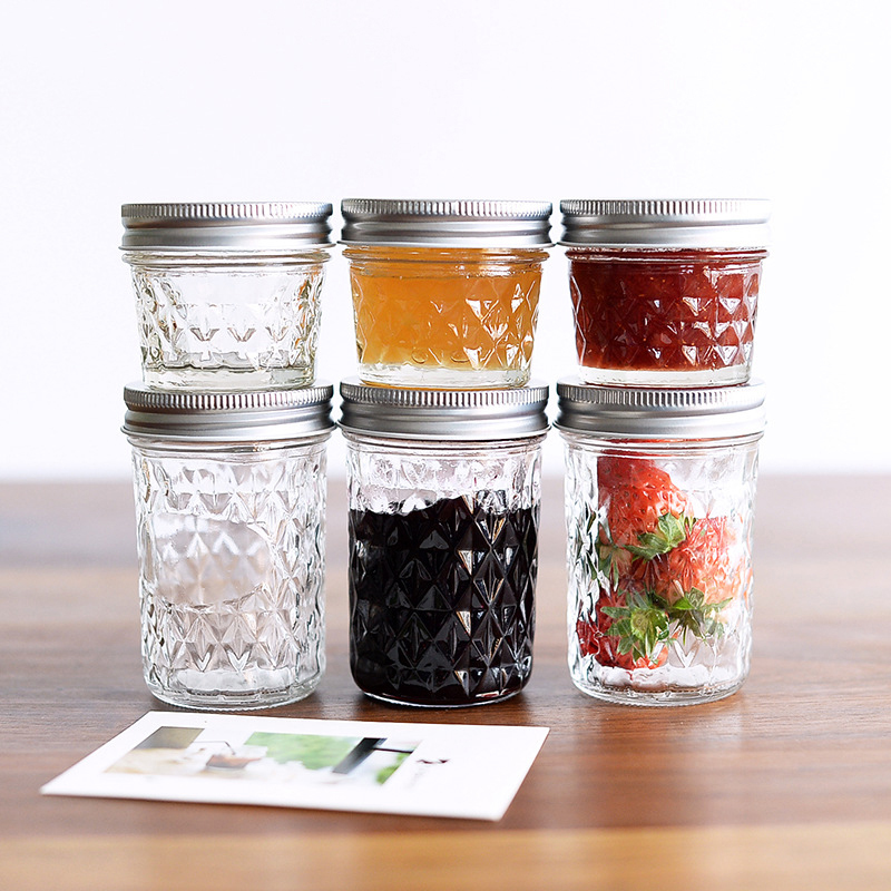 1PC Glass Mason Jar Storage Bottle For Ice Cream Fruit Installed Cold Drink Infusion Transparent Water Bottles Storage Tank 2C ...
