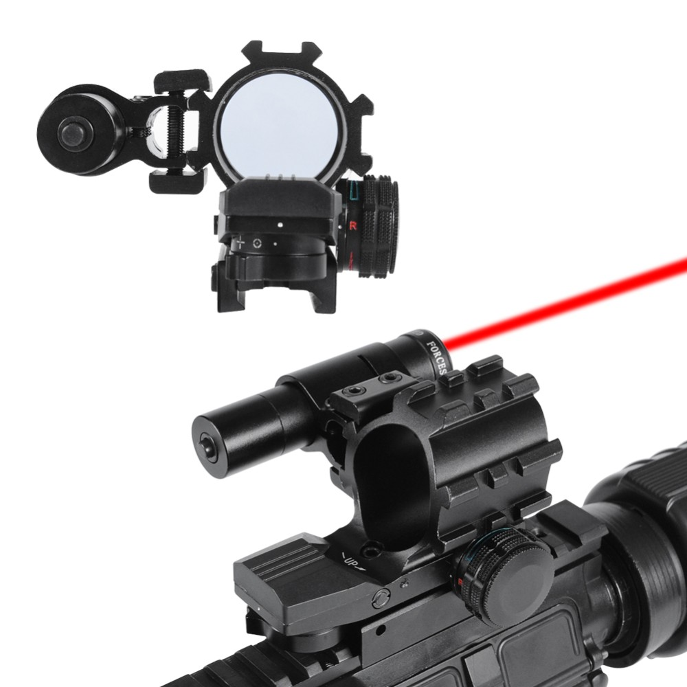Tactical Holographic Red/Green Dot of 4 Reticles Reflex Scope with Laser Sight Combo for Air Gun and Hunting Rifle tactical 5mw 650nm red laser dot rifle scope sight for 20mm gun gauge black