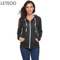 LETEOO Autumn Polka Dot Women Hoodies Sweatshirts Korean Hoodie Zipper Pocket Long Sleeve Pullover Hooded Sudaderas