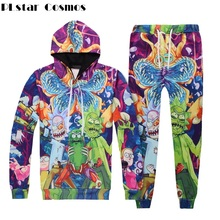 PLstar Cosmos Unisex Autumn spring Tracksuit Rick and Morty 3d Print Hoodie Men/Women 2 Piece Set Top And Pants Piranha Pullover