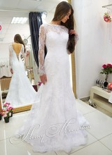 Free Shipping Brazilian Style Trumpet Lace Up Back Sweep Train Long Sleeve Lace Mermaid Cut Bridal Dress MF388