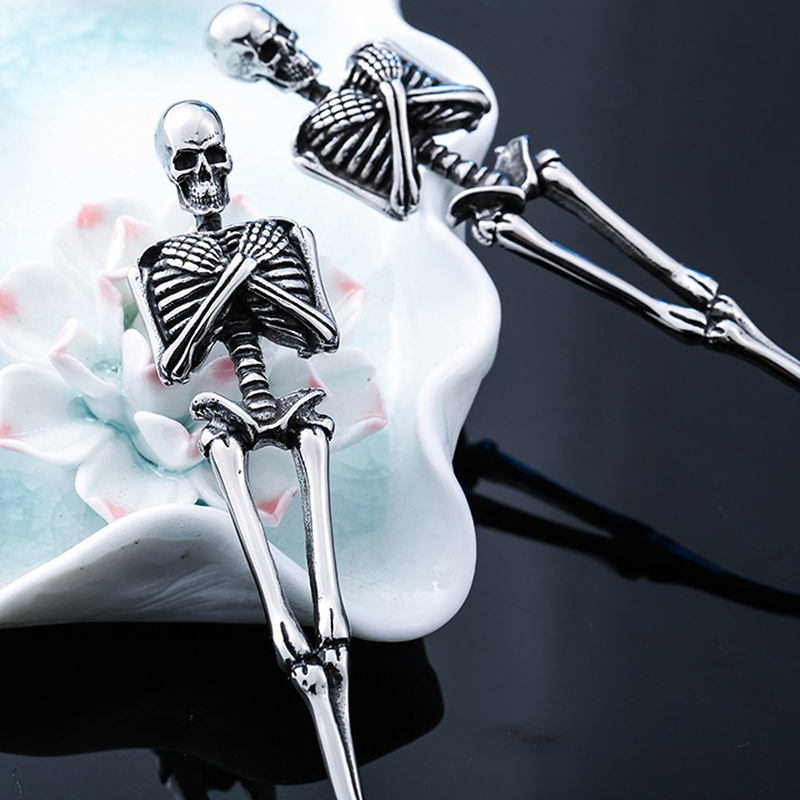 Skull Fork Spoon Tableware Titanium Steel Skeleton Halloween Party Gifts Vintage Dinner Table Flatware Cutlery Set Metal Crafts