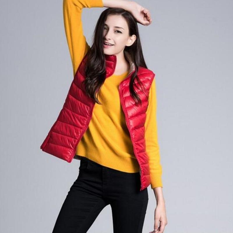 XMY3DWX женская Мода зимой, чтобы согреться 90% белая утка пуховик/женственность Конфеты цвет Стоять воротник два односторонней жилет