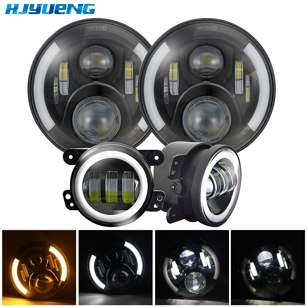for Jeep Wrangler 7Inch Daymaker LED Headlight with White DRL/Amber Turn Signal headlamp with 4 LED fog lights Passing lamps