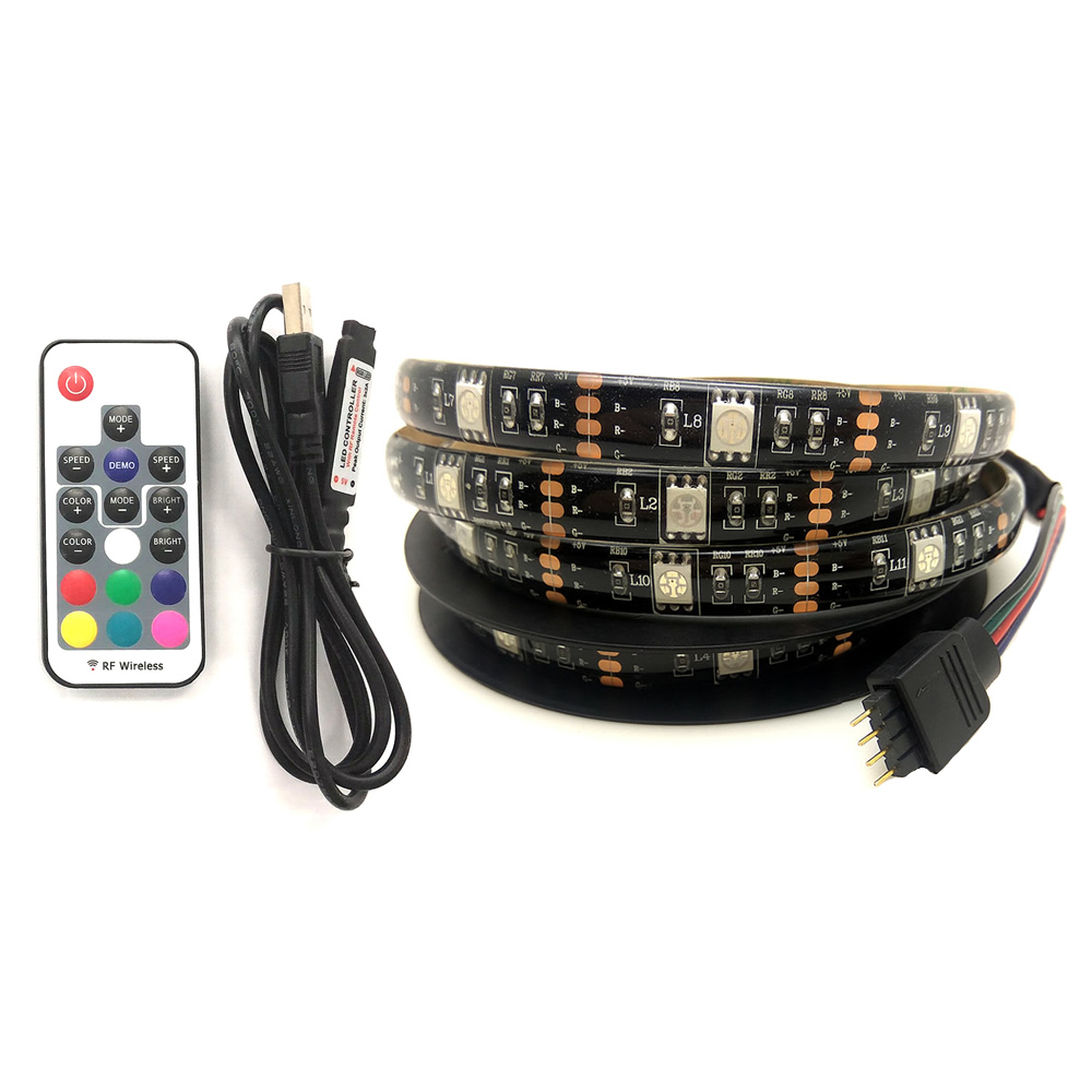 17key remote controller RF wireless control LED strip usb backlight 5050 RGB 200cm 60 LEDs for TV PC monitor 5V usb mood light