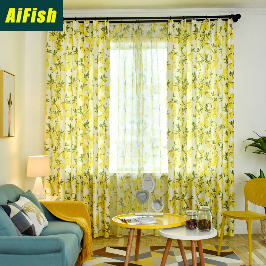 Us 5 65 26 Off Yellow Lemon Printed Sheer Curtains For Bedroom Thermal Insulated Half Blackout Window Treatment Curtain Kids Nursery Wp1662 In
