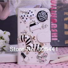 Bling Rose Flower Dancing Girl Bear Tower Zebra Imperial Crown Crystal Rhinestone Flip Leather Case for Galaxy Note 3 N9000