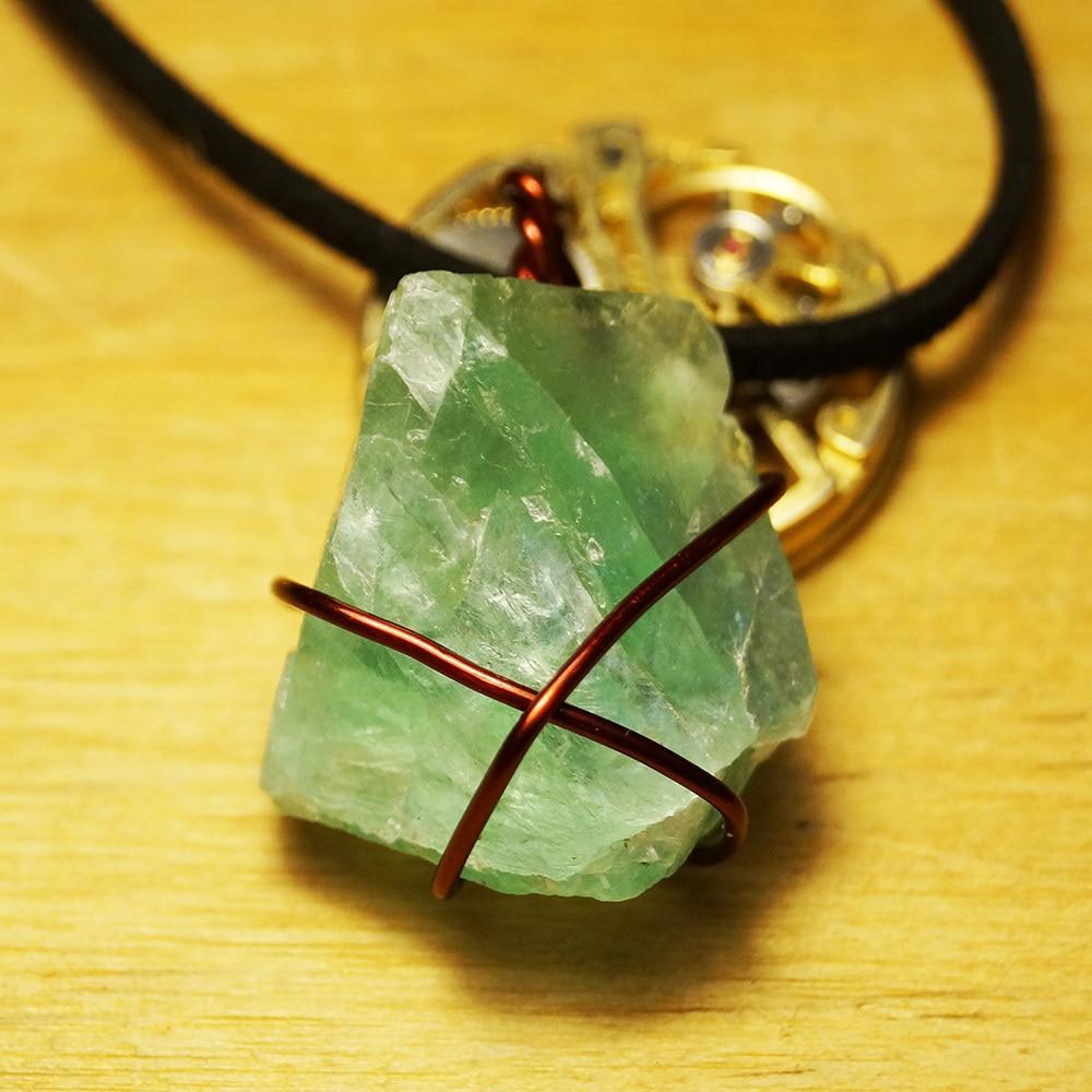 Original steampunk Rock Fluorite Natural Stone statement necklaces