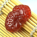 De alta qualidade jade pingente Natural ágata vermelha pedra esculpida Pixiu Good Fortune amuleto sorte pingente homem amuleto encantos