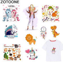 ZOTOONE Fashion Girl Patches Cute Unicorn Sticker Iron on Transfers for Clothes T-shirt Heat Transfer DIY Accessory Appliques F1