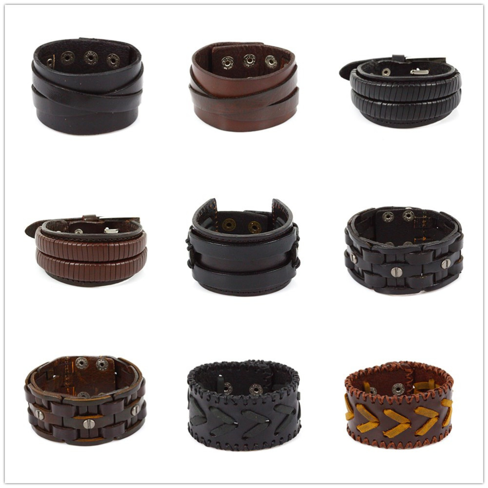 Fashion Punk Style Leather Bangles Handmade Genuine Leather Men Bracelet Black and Brown Color Different Design for Women Gift