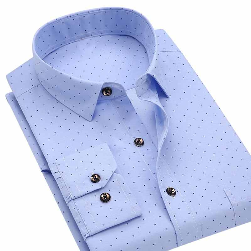 9e34c158010 ... HEFLASHOR 2018 New Arrival Dot Print Shirt Men Summer Autumn Casual Long  Sleeve Social Dress Shirts ...