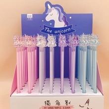 36 pcs/lot Crystal Unicorn Gel Pen Cute Animal Black Ink Signature pen office School writing Supplies Stationery gift