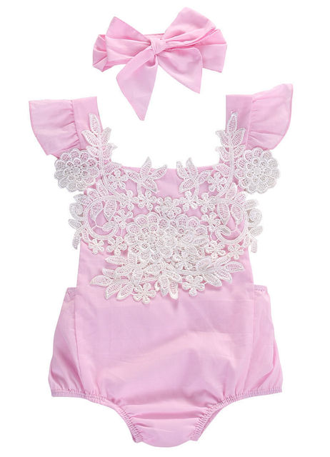7dd399b3a6f 2017 Cute Newborn Baby Girl Rompers Pink Lace Floral Jumpsuit Headband  Sunsuit