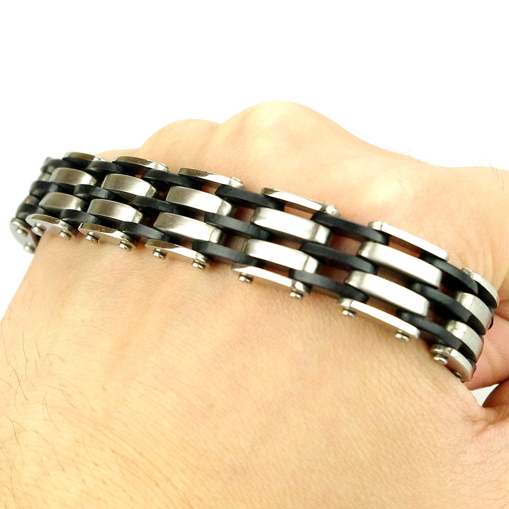 2016 NEW FASHION! Men Stainless Steel Bracelet Chain Link Cuff Wristband Silver Black Rubber HF009