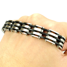 2016 NEW FASHION! Men Stainless Steel Bracelet Chain Link Cuff Wristband Silver Black Rubber HF009 new fashion punk jewelry men bracelet stainless steel cuff bangle silver hand chain black silicone wristband