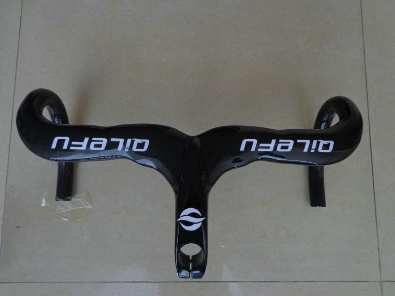 Новый компактный Тип QILEFU Дорожный велосипед 3k полный углерода велосипед руль и стволовых интегрированный 400/420/440*90/100/110 свободный корабль/120мм