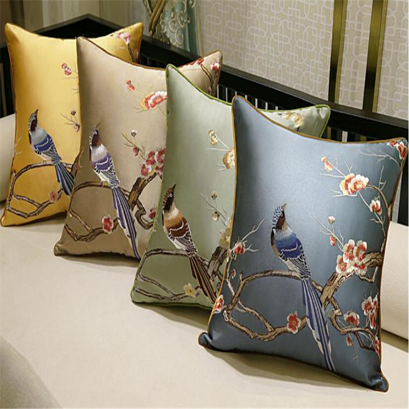 Free Shipping Classical Embroidery Bird Throw Pillow With Inner Pillow Embroidery Satin Cushion Pillow Chair Decorative For Gift