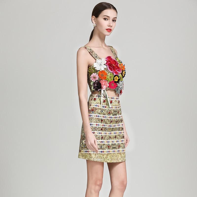 Ensembles Genou Spaghetti Femmes Qualité Slim Costumes 2 De Sexy Mini Mode Pièces Jupe Courroie 2019 Du Dessus Supérieure Hauts Fleurs 4qPRWZWwX