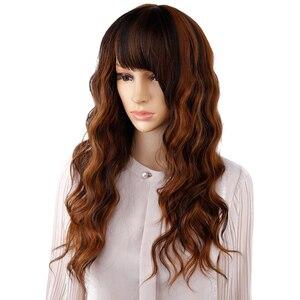 Image 5 - Długie naturalne fale peruki dla kobiet czarny brązowy Ombre blond peruka z grzywką Bob syntetyczne peruki do włosów Peruca Cosplay i imprezowa peruka