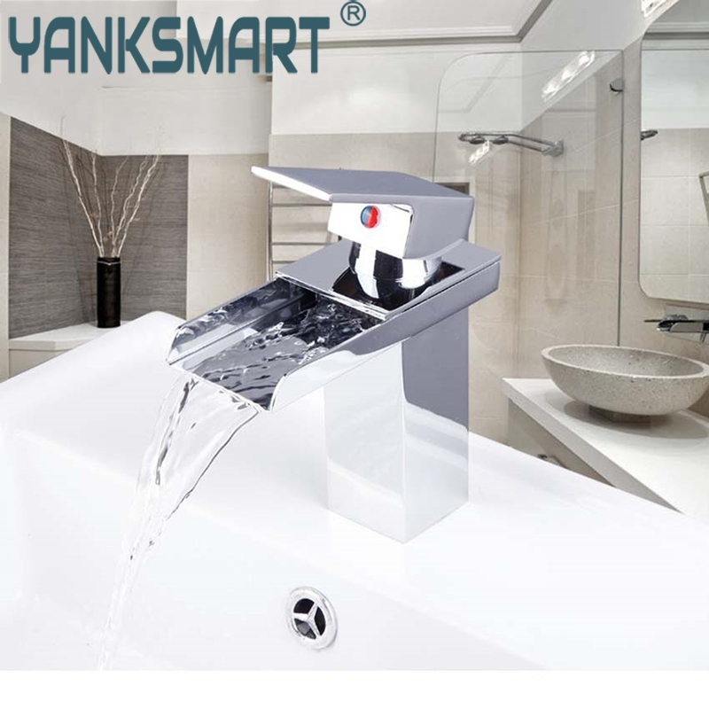 YANKSMART Bathroom Basin Sink Faucet Deck Mounted Waterfall Spout Single Handle Chrome Bathroom Basin Mixer Tap Basin Faucet стол кухонный альфа 1 ящик 600х600х850мм коричневый глянец