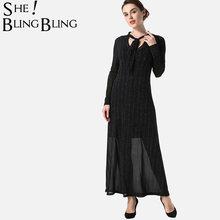 SheBlingBling High Waist Glitter Dress Spring Long Sleeve Women Maxi Dress  Fashion Tie Neck 2 In e21dd9c2dbfe