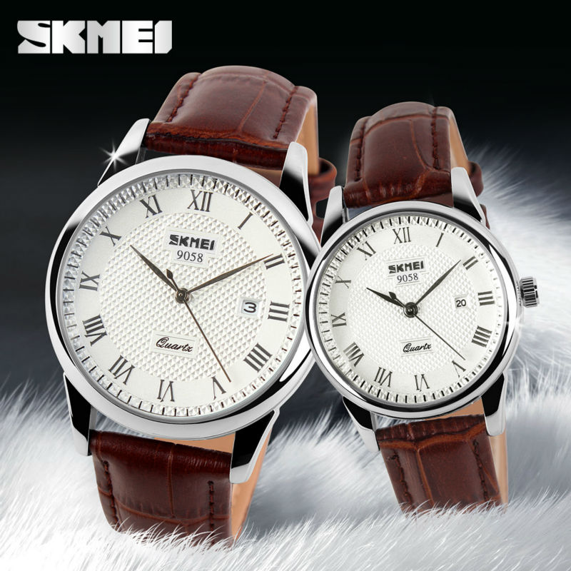 SKMEI Brand Luxury Lovers Quartz Watch Fashion Casual Watches 30m Waterproof Leather For Men Women Dress Wristwatches 9058 skmei lovers quartz watches luxury men women fashion casual watch 30m waterproof simple ultra thin design wristwatches 1181